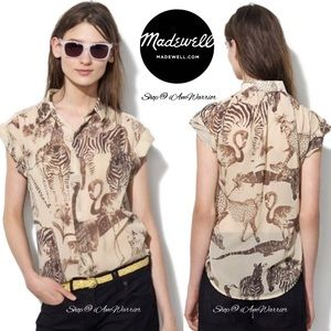 Madewell silk safari print blouse